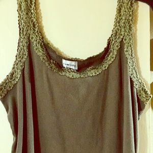 Green, Chico's, Ribbed Tank with Accent Lace!